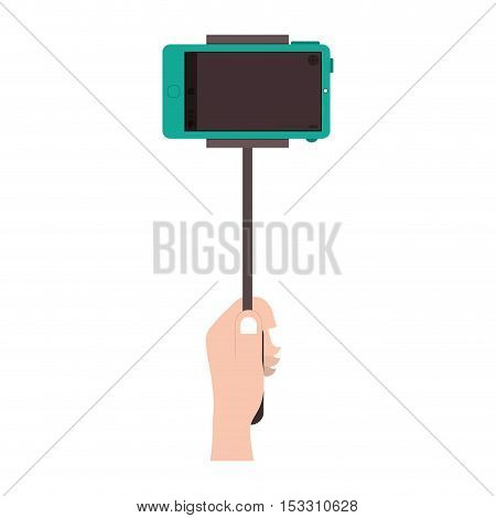 human hand taking a photo with selfie sitck with camera of smartphone portable device. vector illustration
