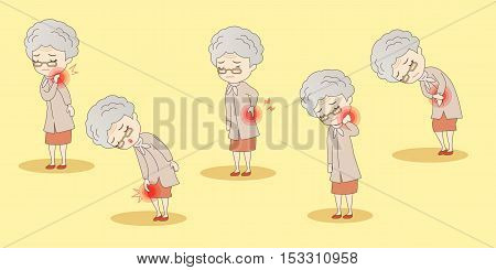 cartoon old woman have body aches great for your design