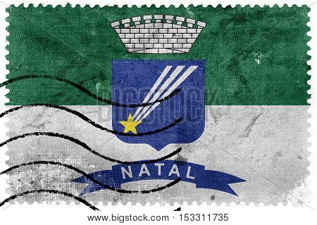 Flag Of Natal, Rio Grande Do Norte, Brazil, Old Postage Stamp