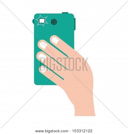 human hand taking a photo with camera of smartphone portable device. vector illustration