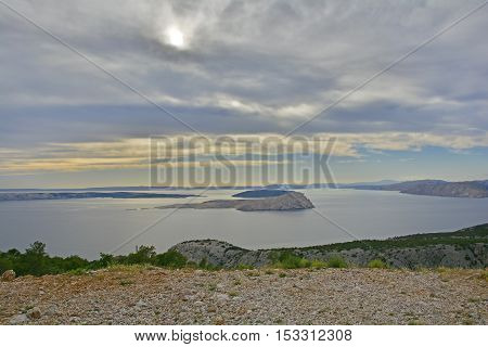 The early evening summer landscape near Karlobag on the Croatian coast in Lika-Senj County.