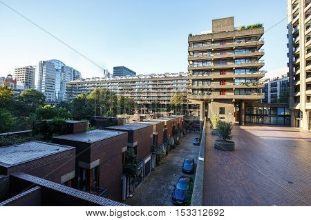 Residential block in Barbican Estate of the City of London. Unique architecture residential area travel sightseeing sights tourism and urban development concept.