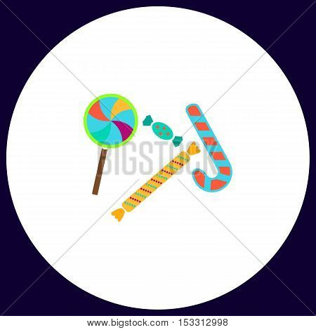 Sweets Simple vector button. Illustration symbol. Color flat icon