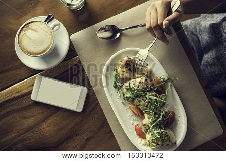 Food Catering Eating Mobile Phone Cafe Restaurant Concept