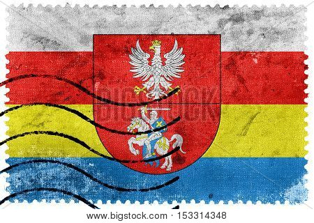 Flag Of Podlaskie Voivodeship With Coat Of Arms, Poland, Old Postage Stamp