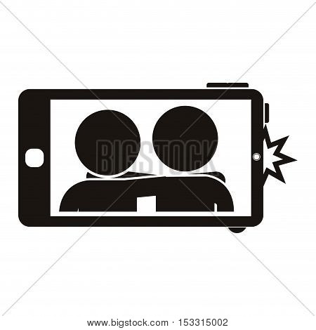 smartphone device with photo on screen over white background. vector illustration