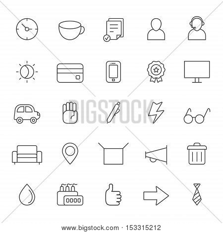 Outline business gray icons vector set. Clean and simple design. Part one.