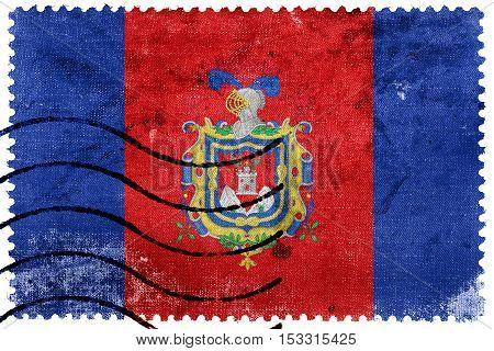 Flag Of Quito, Ecuador, Old Postage Stamp
