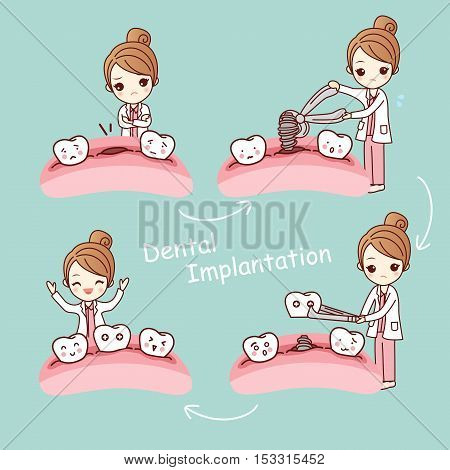 cute cartoon tooth implant treatment with dentist great for health dental care concept