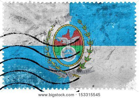 Flag Of Rio De Janeiro State, Brazil, Old Postage Stamp