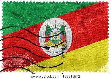 Flag Of Rio Grande Do Sul State, Brazil, Old Postage Stamp