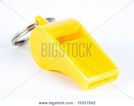 A yellow whistle against white background