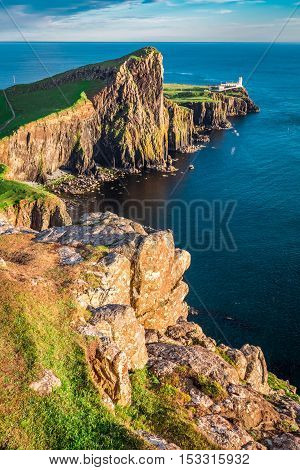 Beautiful Dusk At The Neist Point Lighthouse In Isle Of Skye, Scotland