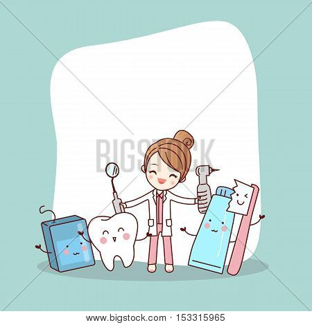 Happy cartoon tooth friend with dentist doctor and empty billboard great for health dental care concept