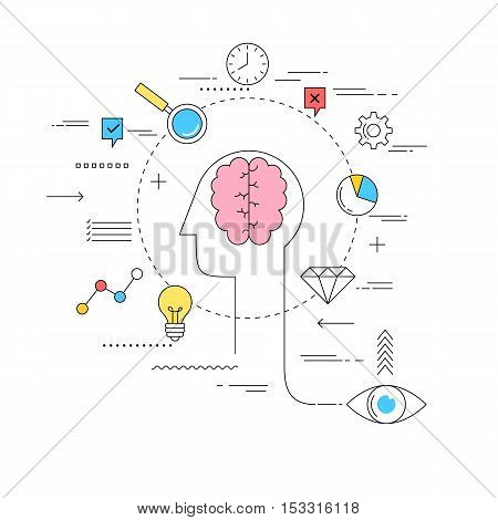 Brain storming concept line style illustration design