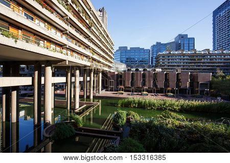 Residential area in Barbican Estate of the City of London. Unique architecture residential area travel sightseeing sights tourism and urban development concept.