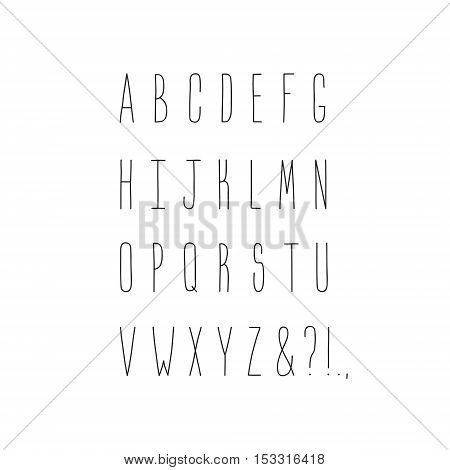 Thin handwritten alphabet and punctuation marks lettering. Hipster and vintage style. Perfect for your design!