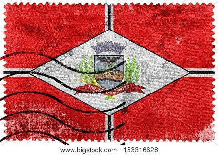 Flag Of Sao Jose Do Rio Preto, Brazil, Old Postage Stamp