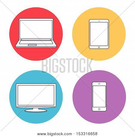 Set of electronics device icons. Device circle icons: laptop, monitor, tablet, smartphone.
