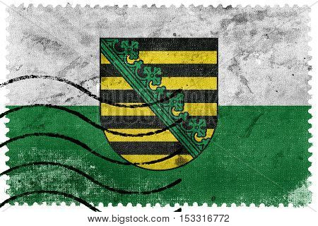 Flag Of Saxony With Coat Of Arms, Germany, Old Postage Stamp