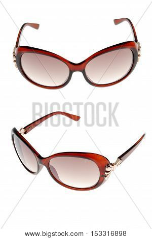 sun glasses set isolated over the white background from different sides.