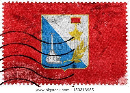 Flag Of Sevastopol, Ukraine, Old Postage Stamp