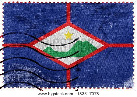 Flag Of Sint Eustatius, Netherlands, Old Postage Stamp