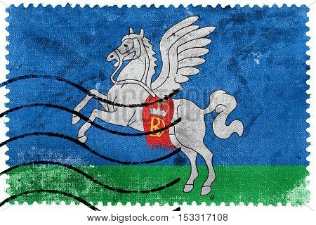 Flag Of Sluck (slutsk), Belarus, Old Postage Stamp