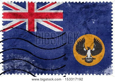 Flag Of South Australia State, Australia, Old Postage Stamp