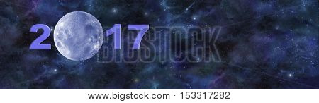 Once in a Blue Moon 2017 Website Header - Deep space banner with a beautiful blue moon making up the zero in 2017 and plenty of copy space on right side