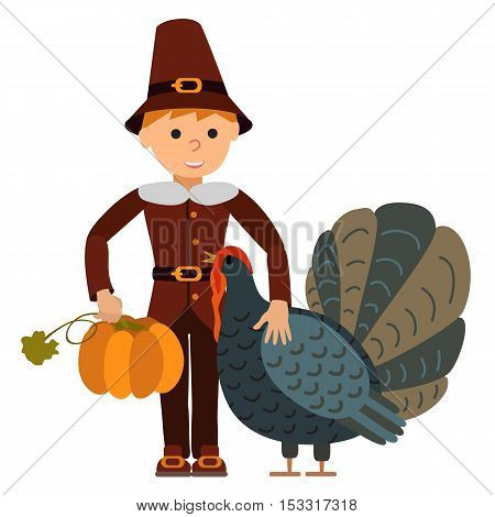 Vector illustration cute little boy big turkey and pumpkin isolated on white background