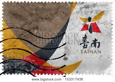 Flag Of Tainan, Taiwan, Old Postage Stamp