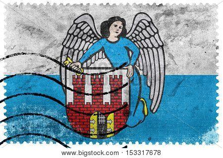 Flag Of Torun, Poland, Old Postage Stamp