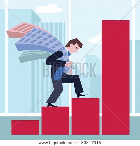 Man carrying house. Business concept the real estate market.