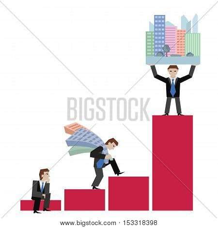 Business concept the real estate market with chart. Vector illustration of businessman with houses standing on chart, isolated on white background.