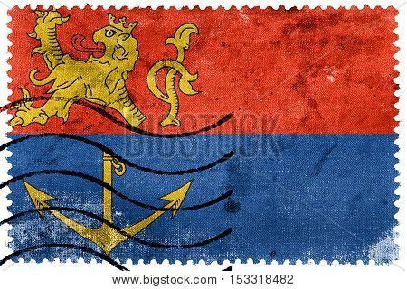 Flag Of Venlo, Netherlands, Old Postage Stamp