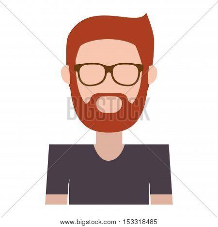 avatar bearded man wearing glasses and black t shirt. vector illustration