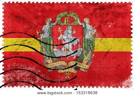 Flag Of Vilnius With Coat Of Arms, Lithuania, Old Postage Stamp