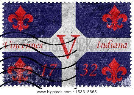 Flag Of Vincennes, Indiana, Usa, Old Postage Stamp
