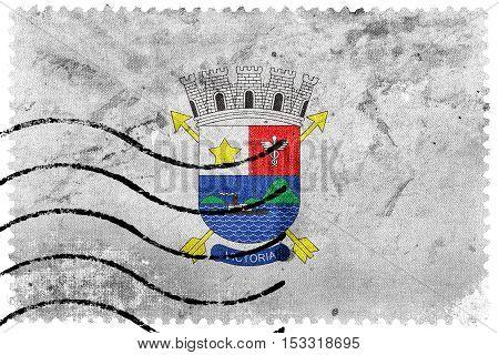 Flag Of Vitoria, Espirito Santo, Brazil, Old Postage Stamp