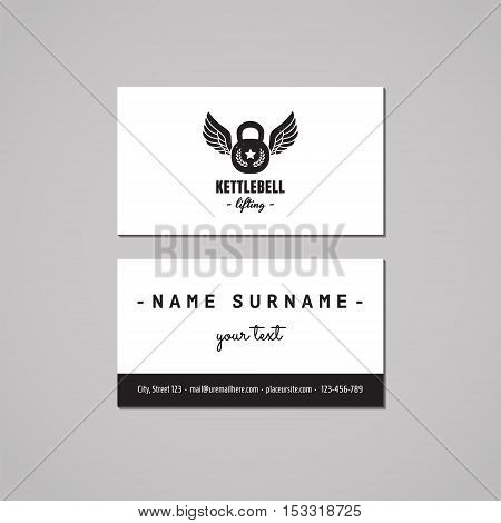 Sport & fitness vintage business card design concept. Logo with kettle bell and wings. Vintage hipster and retro style.
