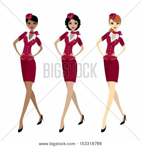 Set Air hostess in uniform isolated on white stock vector illustration