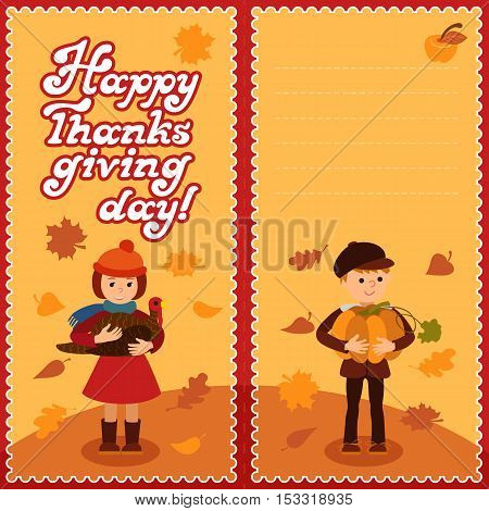 Thanksgiving day card with congratulations children pumpkin and turkey vector illustration.