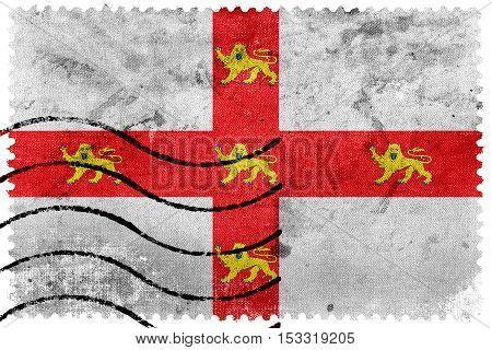 Flag Of York, England, Uk, Old Postage Stamp