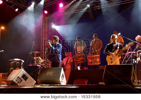 Brazilian band performing live on stage in Skopje, Macedonia