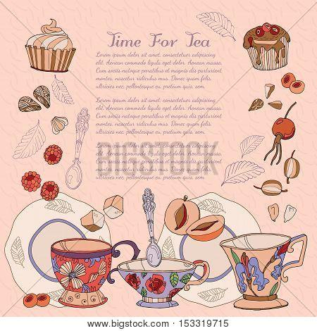 Tea card design template hand drawn vector