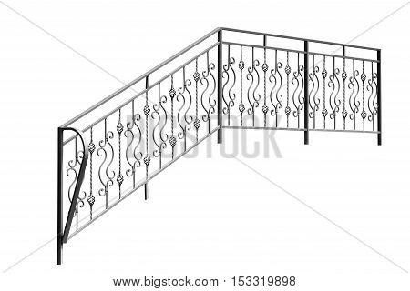 Iron banisters railing. Isolated over white background.