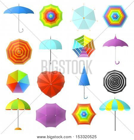 Open and closed colorful umbrellas vector set: protection for rain weather, parasol. Icons of seasonal fashion accessory. Flat design illustration isolated on white background.
