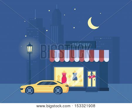 Vector illustration of boutique and sports car on the background of the city. Store building with a showcase. Night city, street light, starry sky. Trend modern flat pseudo volume style.