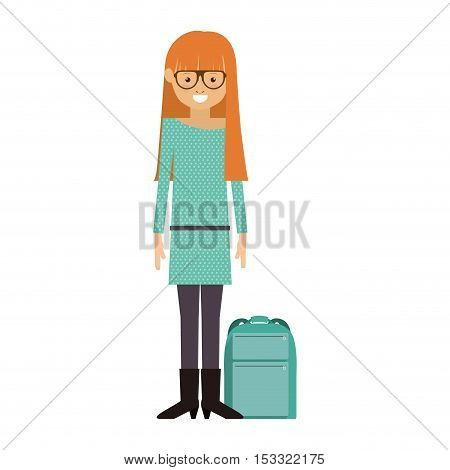 avatar woman smiling with backpack on the floor over white background. hipster style design. vector illustration